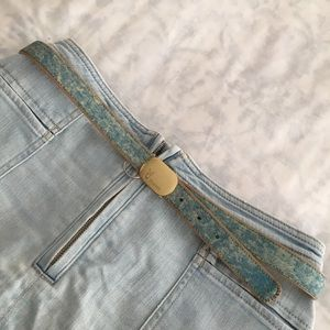 Vintage 80s leather belt in blue playboy One Size